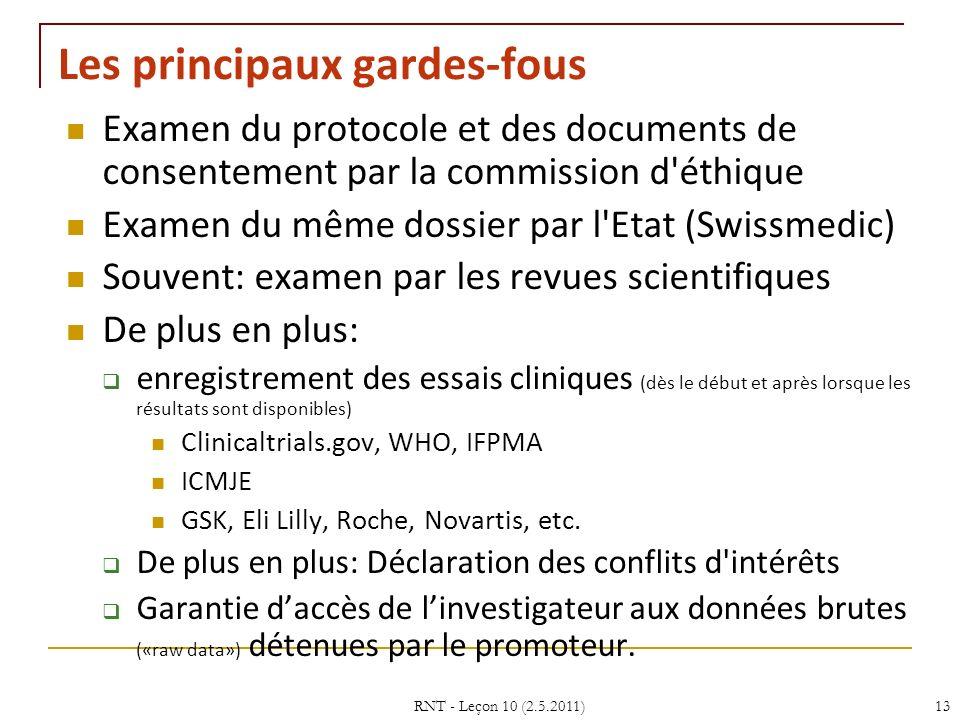 RNT - Leçon 10 (2.5.2011)13 Les principaux gardes-fous Examen du protocole et des documents de consentement par la commission d'éthique Examen du même