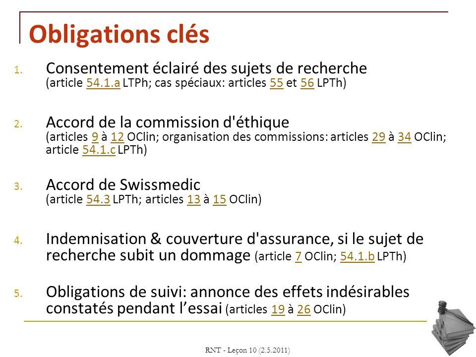 RNT - Leçon 10 (2.5.2011)14 Obligations clés 1. Consentement éclairé des sujets de recherche (article 54.1.a LTPh; cas spéciaux: articles 55 et 56 LPT