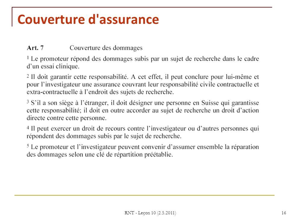 RNT - Leçon 10 (2.5.2011)16 Couverture d assurance