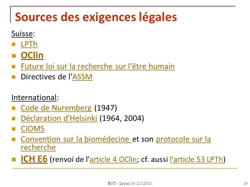RNT - Leçon 10 (2.5.2011)19 Sources des exigences légales Suisse: LPTh OClin Future loi sur la recherche sur l être humain Directives de l ASSMASSM International: Code de Nuremberg (1947) Code de Nuremberg Déclaration d Helsinki (1964, 2004) Déclaration d Helsinki CIOMS Convention sur la biomédecine et son protocole sur la recherche Convention sur la biomédecine protocole sur la recherche ICH E6 (renvoi de l article 4 OClin; cf.