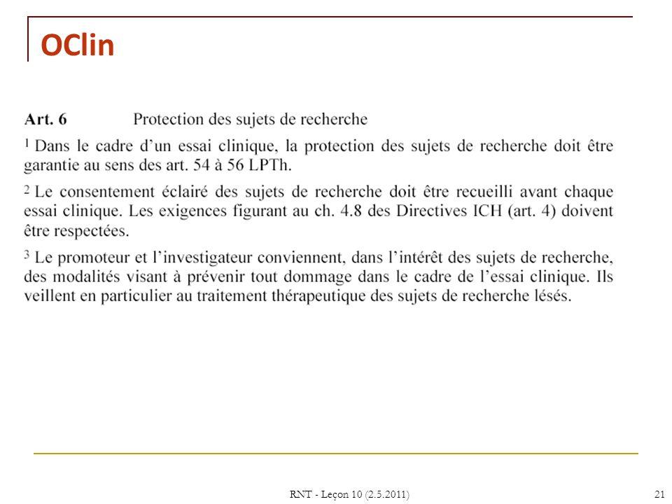 RNT - Leçon 10 (2.5.2011)21 OClin