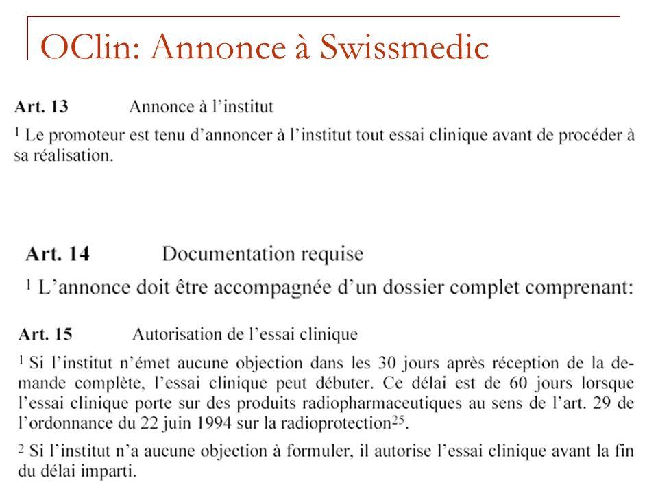 RNT - Leçon 10 (2.5.2011)23 OClin: Annonce à Swissmedic
