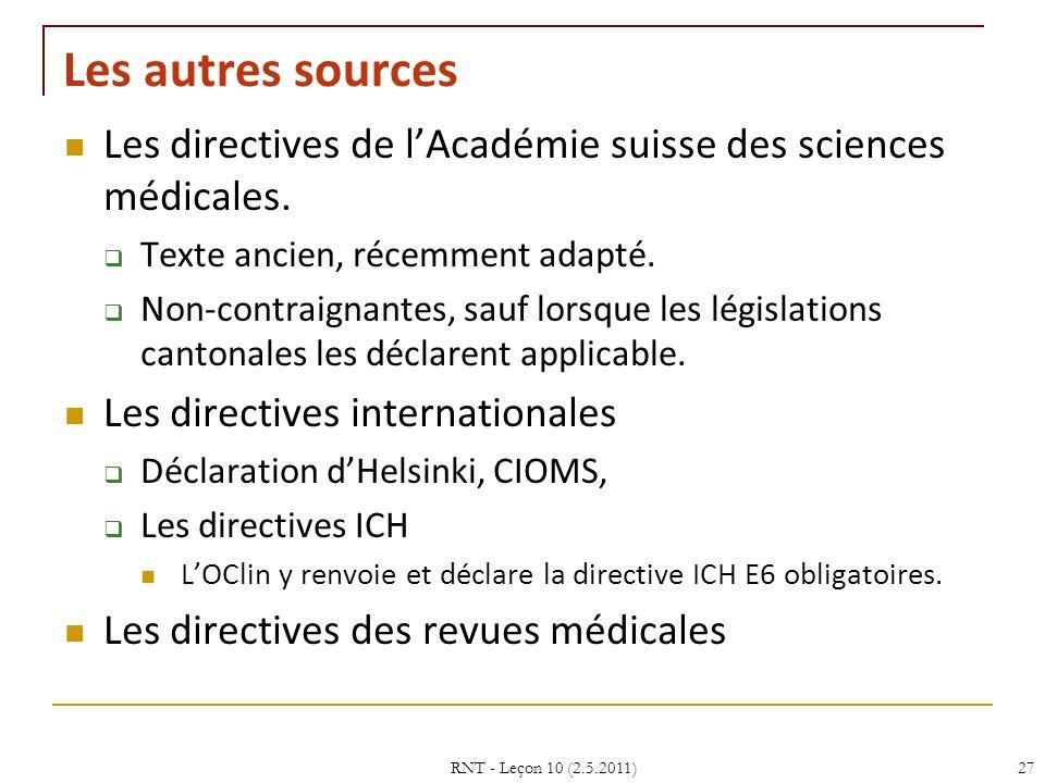 Les autres sources Les directives de lAcadémie suisse des sciences médicales. Texte ancien, récemment adapté. Non-contraignantes, sauf lorsque les lég