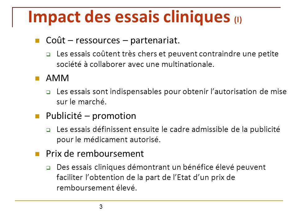 Impact des essais cliniques (I) Coût – ressources – partenariat. Les essais coûtent très chers et peuvent contraindre une petite société à collaborer