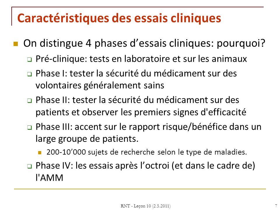 RNT - Leçon 10 (2.5.2011)7 Caractéristiques des essais cliniques On distingue 4 phases dessais cliniques: pourquoi? Pré-clinique: tests en laboratoire