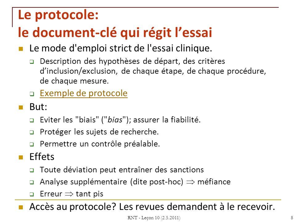 RNT - Leçon 10 (2.5.2011)8 Le protocole: le document-clé qui régit lessai Le mode d'emploi strict de l'essai clinique. Description des hypothèses de d