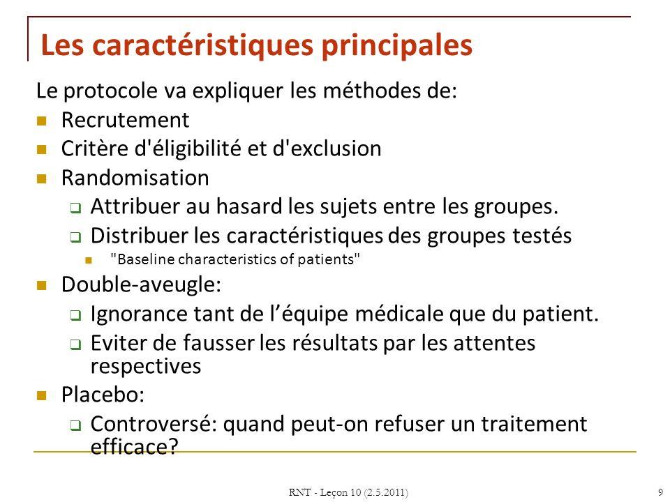 RNT - Leçon 10 (2.5.2011)9 Les caractéristiques principales Le protocole va expliquer les méthodes de: Recrutement Critère d éligibilité et d exclusion Randomisation Attribuer au hasard les sujets entre les groupes.