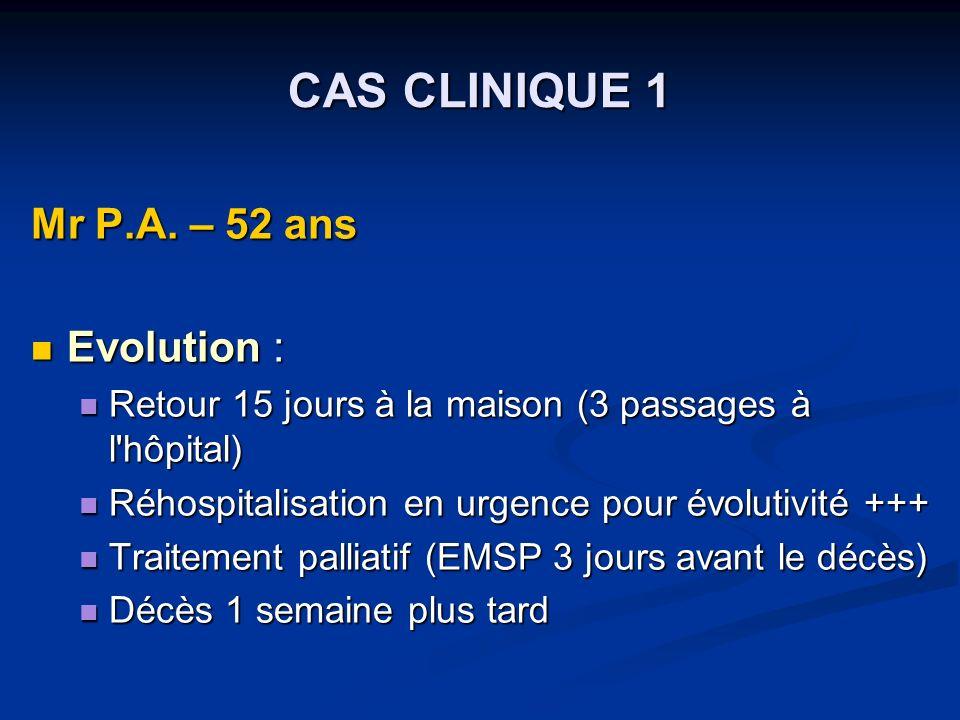 CAS CLINIQUE 1 Mr P.A.