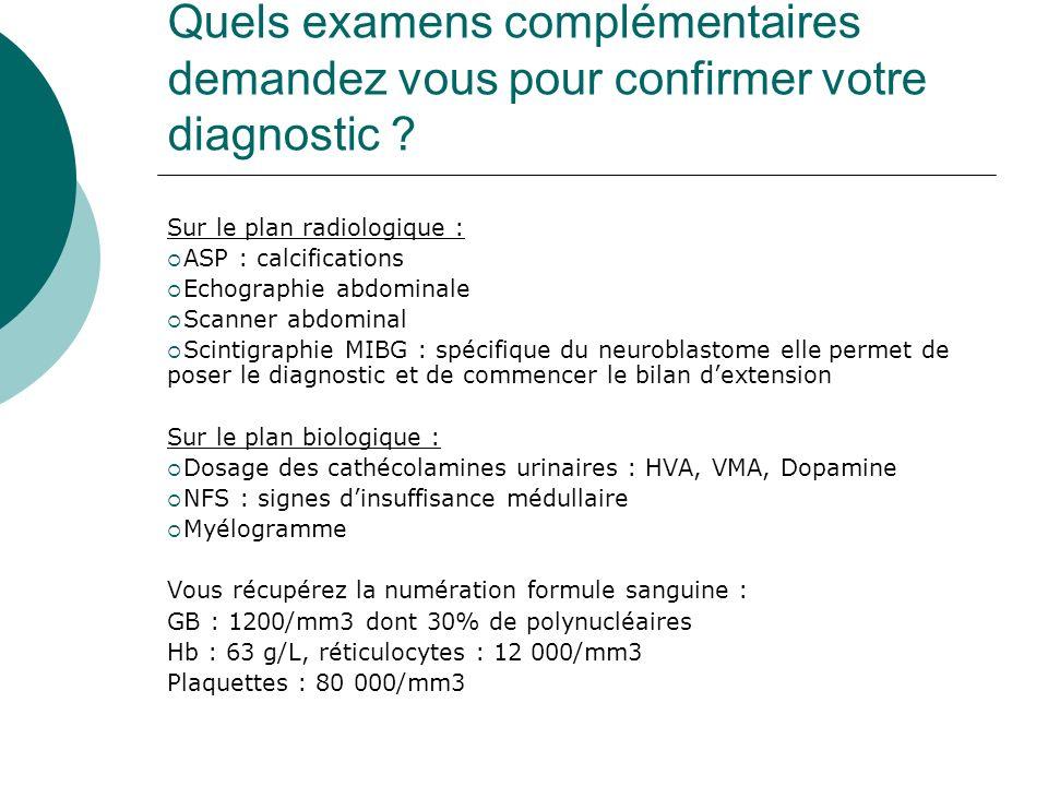 Quels examens complémentaires demandez vous pour confirmer votre diagnostic ? Sur le plan radiologique : ASP : calcifications Echographie abdominale S