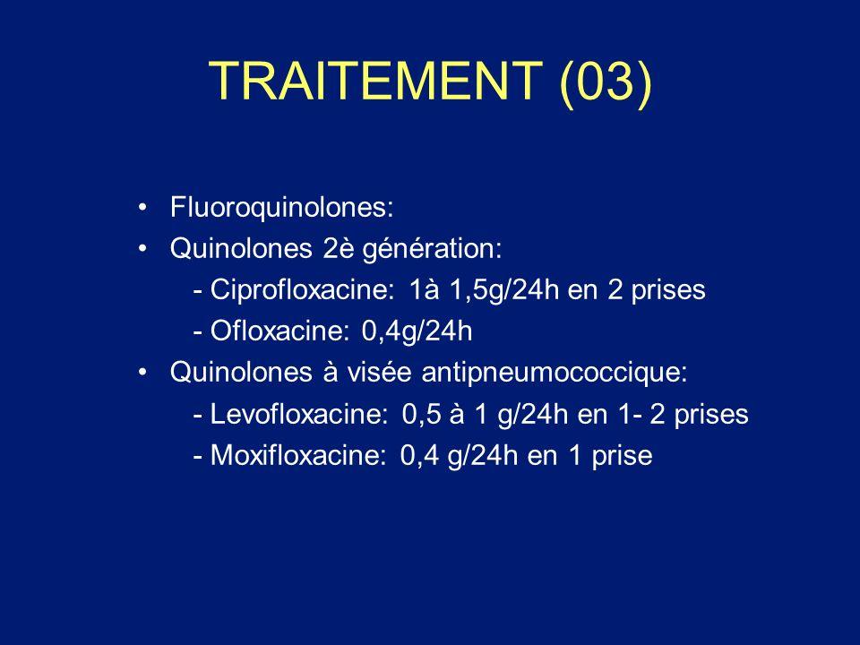 TRAITEMENT (03) Fluoroquinolones: Quinolones 2è génération: - Ciprofloxacine: 1à 1,5g/24h en 2 prises - Ofloxacine: 0,4g/24h Quinolones à visée antipn