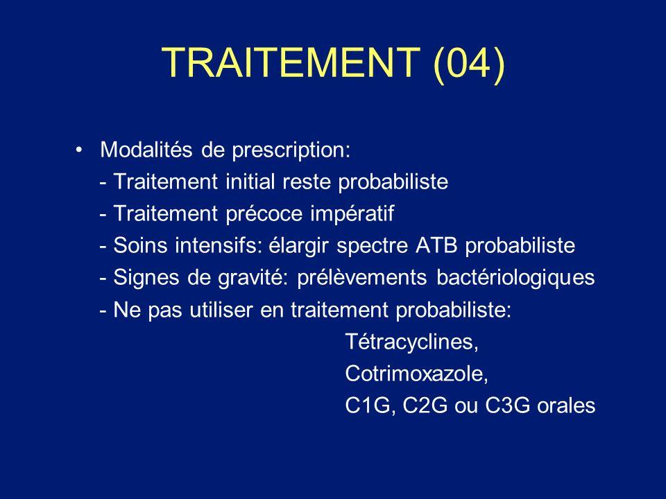 TRAITEMENT (04) Modalités de prescription: - Traitement initial reste probabiliste - Traitement précoce impératif - Soins intensifs: élargir spectre A