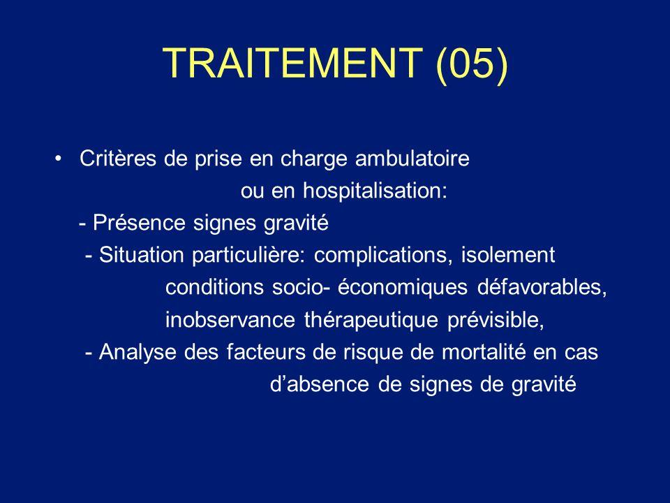 TRAITEMENT (05) Critères de prise en charge ambulatoire ou en hospitalisation: - Présence signes gravité - Situation particulière: complications, isol