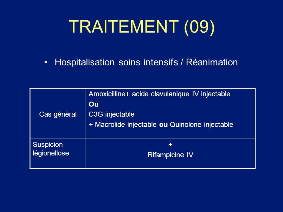 TRAITEMENT (09) Hospitalisation soins intensifs / Réanimation Cas général Amoxicilline+ acide clavulanique IV injectable Ou C3G injectable + Macrolide
