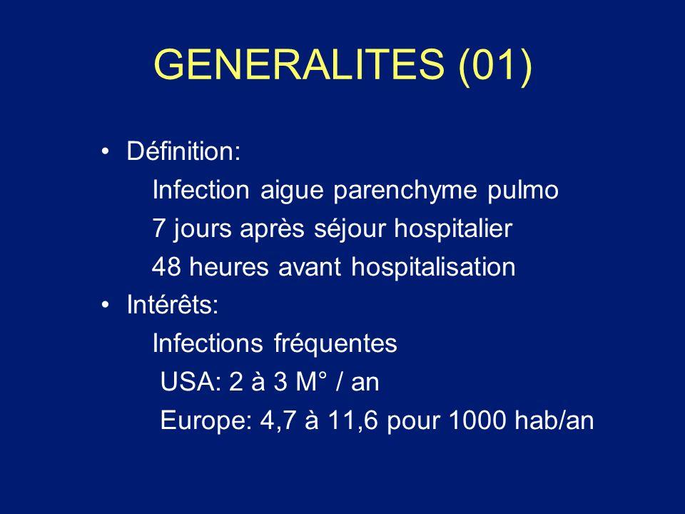 GENERALITES (01) Définition: Infection aigue parenchyme pulmo 7 jours après séjour hospitalier 48 heures avant hospitalisation Intérêts: Infections fr