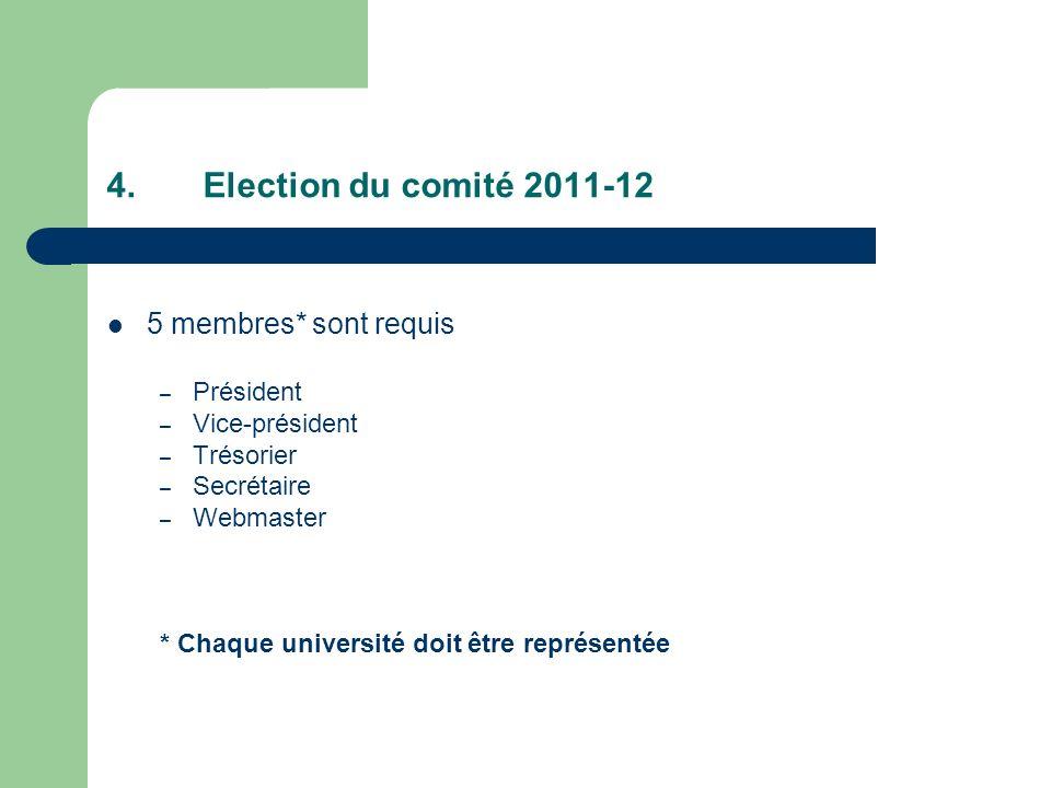 4.Election du comité 2011-12 5 membres* sont requis – Président – Vice-président – Trésorier – Secrétaire – Webmaster * Chaque université doit être représentée