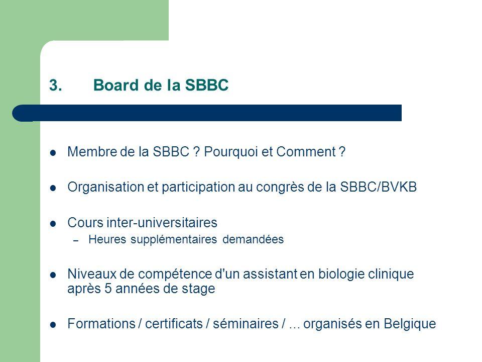 3.Board de la SBBC Membre de la SBBC .Pourquoi et Comment .