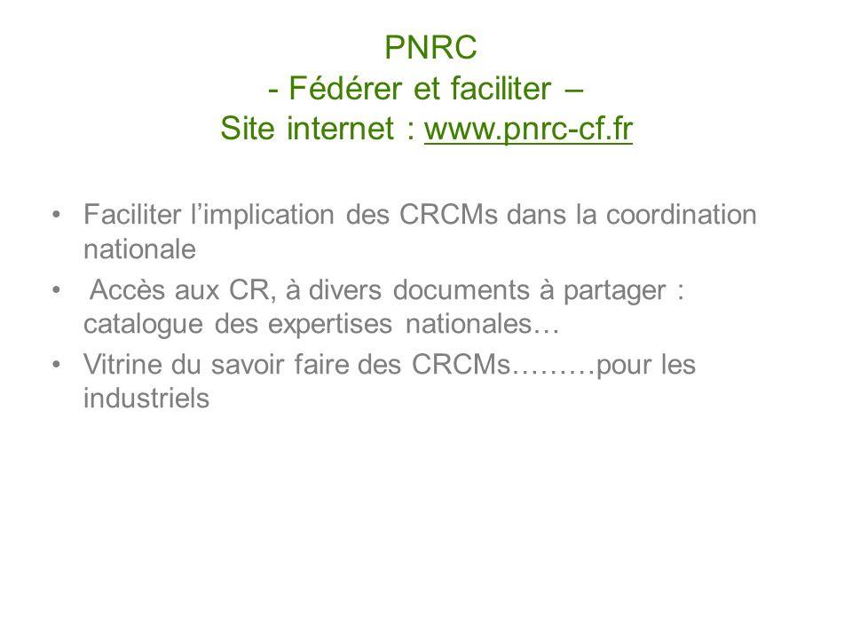 Faciliter limplication des CRCMs dans la coordination nationale Accès aux CR, à divers documents à partager : catalogue des expertises nationales… Vit