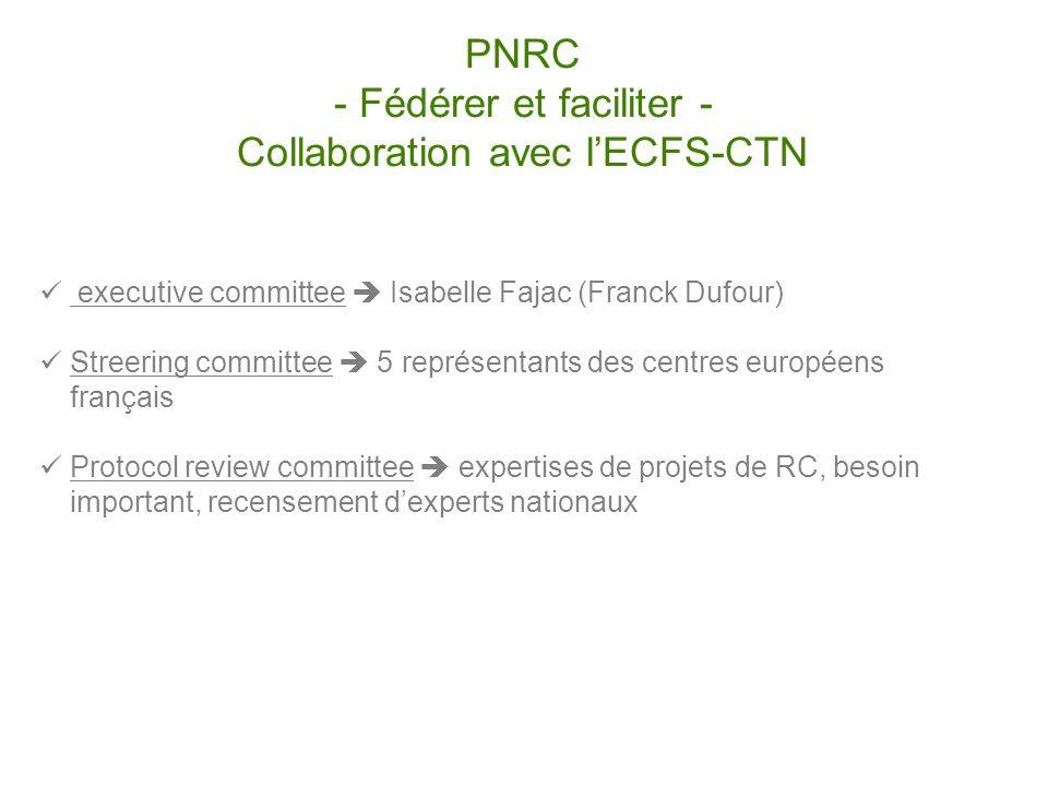 PNRC - Fédérer et faciliter - Collaboration avec lECFS-CTN executive committee Isabelle Fajac (Franck Dufour) Streering committee 5 représentants des