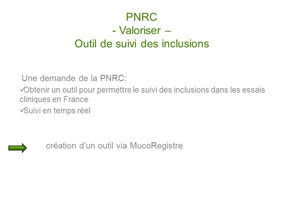 PNRC - Valoriser – Outil de suivi des inclusions Une demande de la PNRC: Obtenir un outil pour permettre le suivi des inclusions dans les essais clini