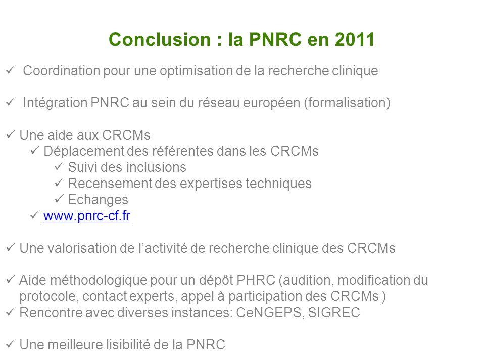 Conclusion : la PNRC en 2011 Coordination pour une optimisation de la recherche clinique Intégration PNRC au sein du réseau européen (formalisation) U
