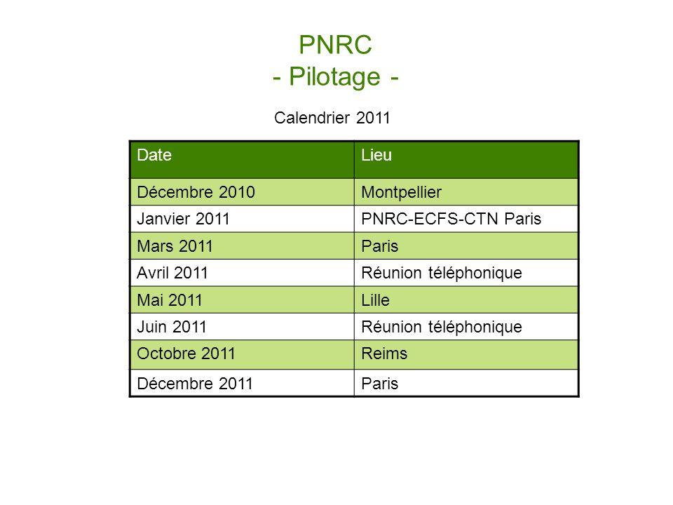 PNRC - Pilotage - Calendrier 2011 DateLieu Décembre 2010Montpellier Janvier 2011PNRC-ECFS-CTN Paris Mars 2011Paris Avril 2011Réunion téléphonique Mai