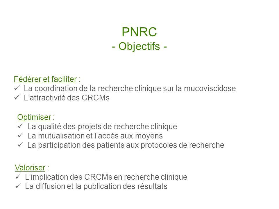 PNRC - Objectifs - Fédérer et faciliter : La coordination de la recherche clinique sur la mucoviscidose Lattractivité des CRCMs Valoriser : Limplicati