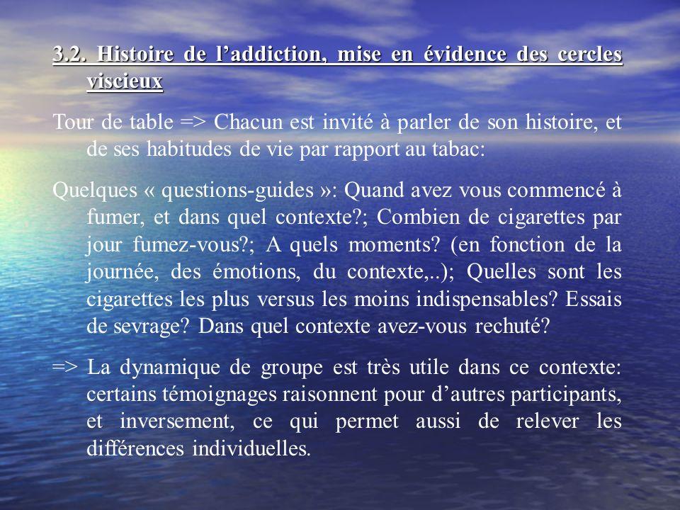 3.2. Histoire de laddiction, mise en évidence des cercles viscieux Tour de table => Chacun est invité à parler de son histoire, et de ses habitudes de