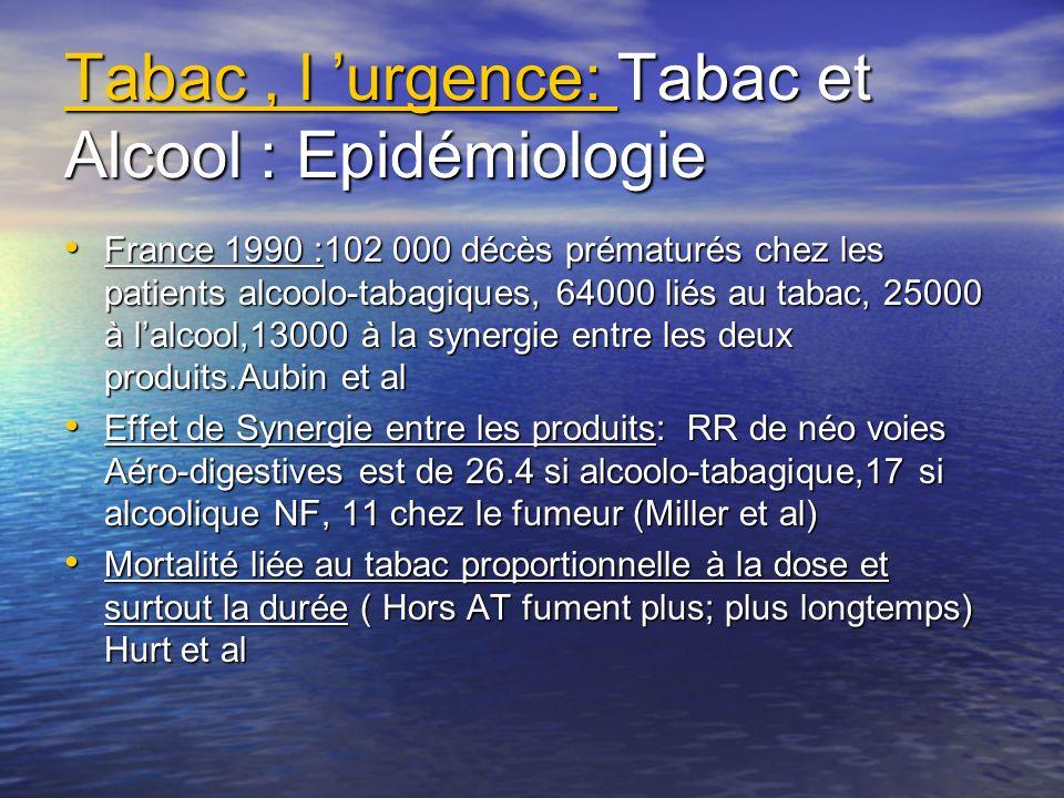 Tabac, l urgence: Tabac et Alcool : Epidémiologie France 1990 :102 000 décès prématurés chez les patients alcoolo-tabagiques, 64000 liés au tabac, 250