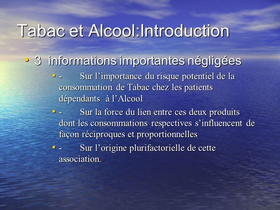 Tabac et Alcool:Introduction 3 informations importantes négligées 3 informations importantes négligées -Sur limportance du risque potentiel de la cons