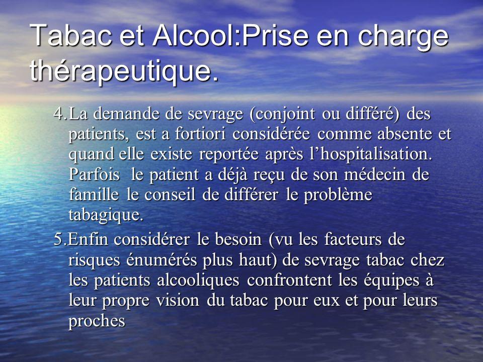 Tabac et Alcool:Prise en charge thérapeutique. 4.La demande de sevrage (conjoint ou différé) des patients, est a fortiori considérée comme absente et