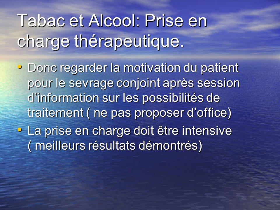 Tabac et Alcool: Prise en charge thérapeutique. Donc regarder la motivation du patient pour le sevrage conjoint après session dinformation sur les pos