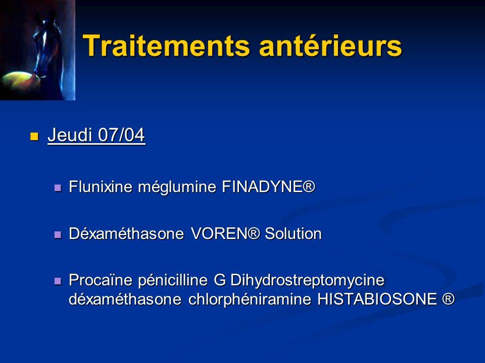 Traitements antérieurs Vend 08/04 Vend 08/04 Marbofloxacine MARBOCYL® Marbofloxacine MARBOCYL® Flunixine méglumine FINADYNE® Flunixine méglumine FINADYNE® Ringer Lactate 3L : faible quantité !!.