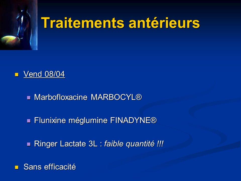 Traitement Dans lurgence, mise en place dun traitement symptomatique Dans lurgence, mise en place dun traitement symptomatique Flunixine méglumine : dose antiendotoxémique : 0.25 mg/kg toutes les 6h Flunixine méglumine : dose antiendotoxémique : 0.25 mg/kg toutes les 6h Nacl 7.5 % : 500 mL Nacl 7.5 % : 500 mL Ringer Lactate + complémentation KCl Ringer Lactate + complémentation KCl Sondage naso-gastrique + 3 L/j de paraffine Sondage naso-gastrique + 3 L/j de paraffine