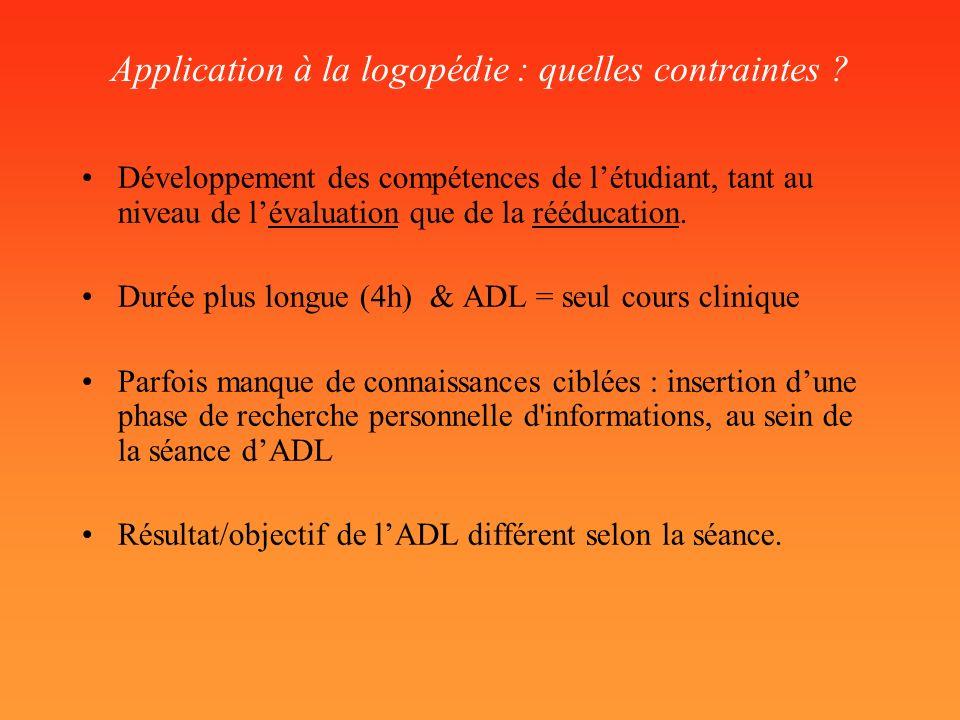 Application à la logopédie : quelles contraintes ? Développement des compétences de létudiant, tant au niveau de lévaluation que de la rééducation. Du