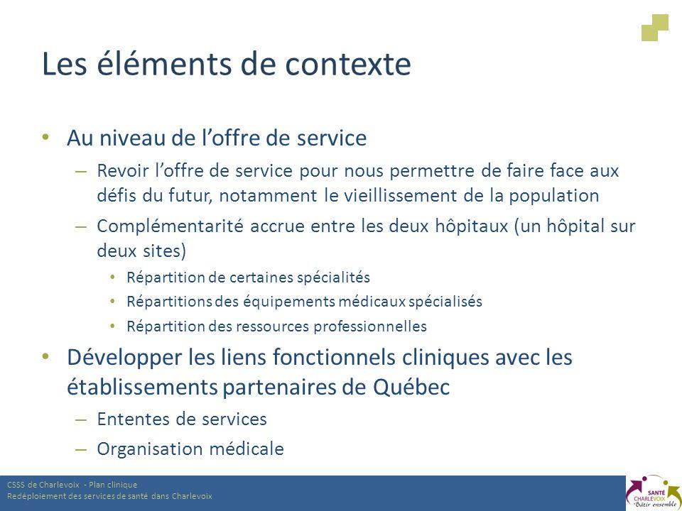Les éléments de contexte Au niveau de loffre de service – Revoir loffre de service pour nous permettre de faire face aux défis du futur, notamment le vieillissement de la population – Complémentarité accrue entre les deux hôpitaux (un hôpital sur deux sites) Répartition de certaines spécialités Répartitions des équipements médicaux spécialisés Répartition des ressources professionnelles Développer les liens fonctionnels cliniques avec les établissements partenaires de Québec – Ententes de services – Organisation médicale CSSS de Charlevoix - Plan clinique Redéploiement des services de santé dans Charlevoix