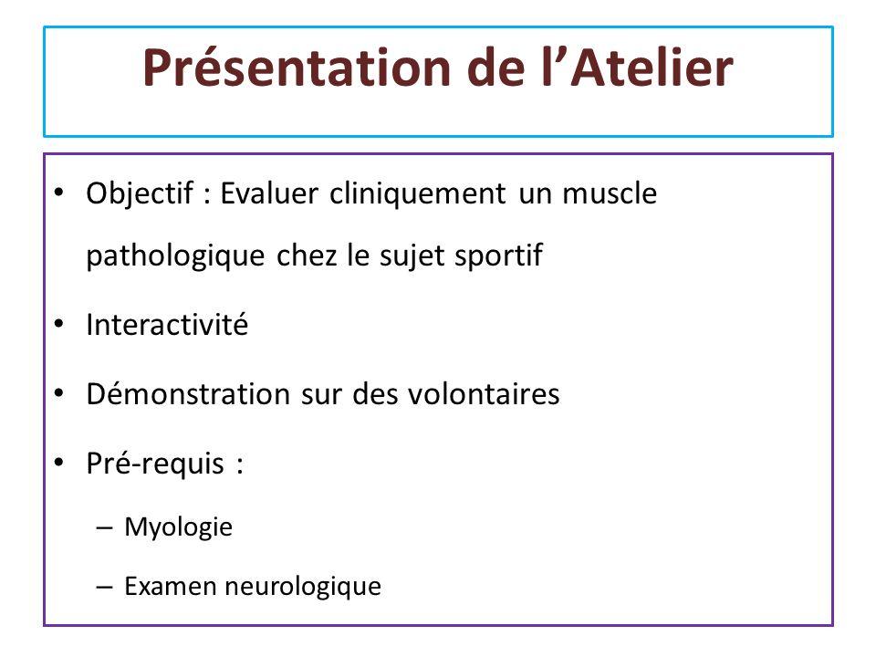 Présentation de lAtelier Objectif : Evaluer cliniquement un muscle pathologique chez le sujet sportif Interactivité Démonstration sur des volontaires