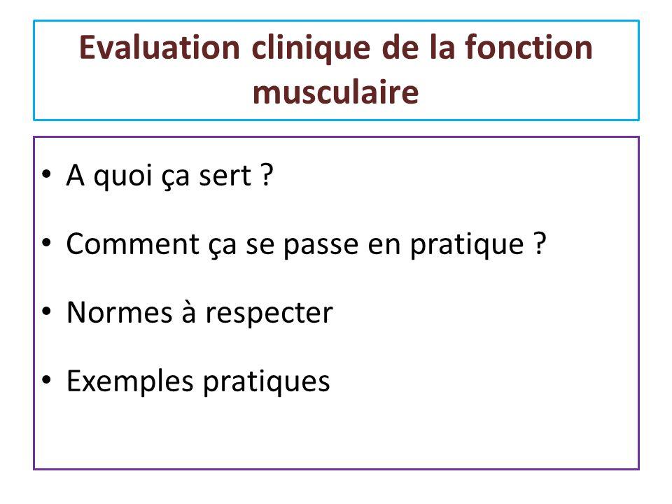 Evaluation clinique de la fonction musculaire A quoi ça sert ? Comment ça se passe en pratique ? Normes à respecter Exemples pratiques