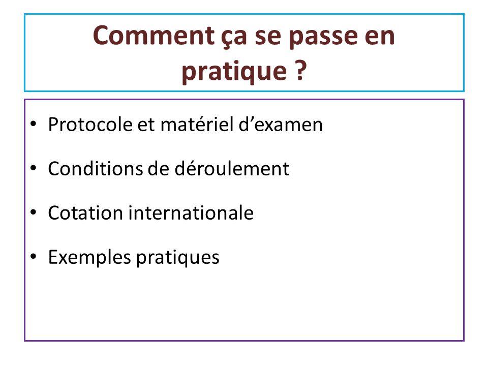 Protocole et matériel dexamen Conditions de déroulement Cotation internationale Exemples pratiques Comment ça se passe en pratique ?