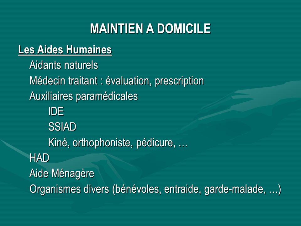 MAINTIEN A DOMICILE Les Aides Humaines Aidants naturels Médecin traitant : évaluation, prescription Auxiliaires paramédicales IDESSIAD Kiné, orthophon