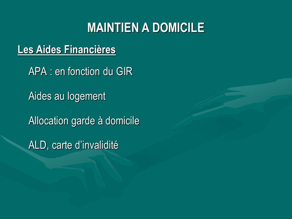 MAINTIEN A DOMICILE Les Aides Financières APA : en fonction du GIR Aides au logement Allocation garde à domicile ALD, carte dinvalidité
