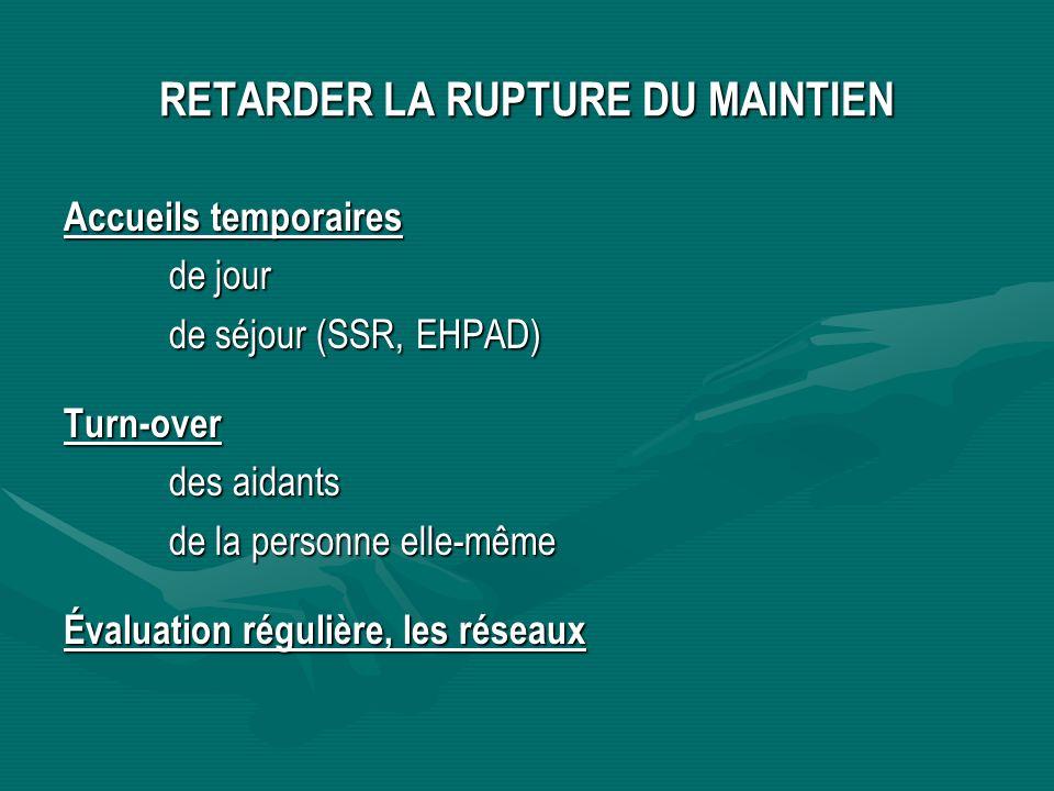 RETARDER LA RUPTURE DU MAINTIEN Accueils temporaires de jour de séjour (SSR, EHPAD) Turn-over des aidants de la personne elle-même Évaluation régulièr