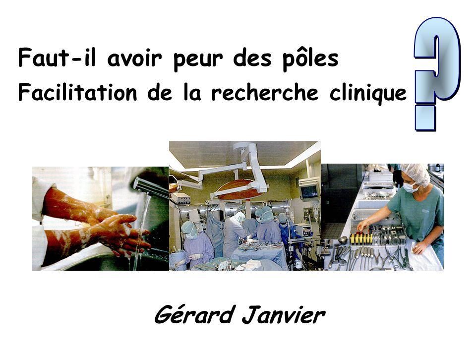 Faut-il avoir peur des pôles Facilitation de la recherche clinique Gérard Janvier