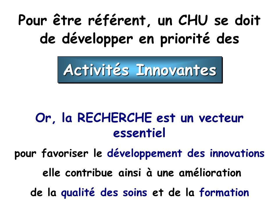 Pour être référent, un CHU se doit de développer en priorité des Or, la RECHERCHE est un vecteur essentiel pour favoriser le développement des innovations elle contribue ainsi à une amélioration de la qualité des soins et de la formation Activités Innovantes
