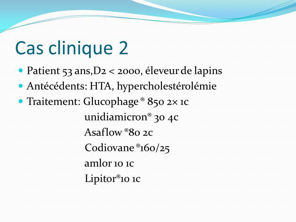 Cas clinique 2 Patient 53 ans,D2 < 2000, éleveur de lapins Antécédents: HTA, hypercholestérolémie Traitement: Glucophage ® 850 2× 1c unidiamicron® 30