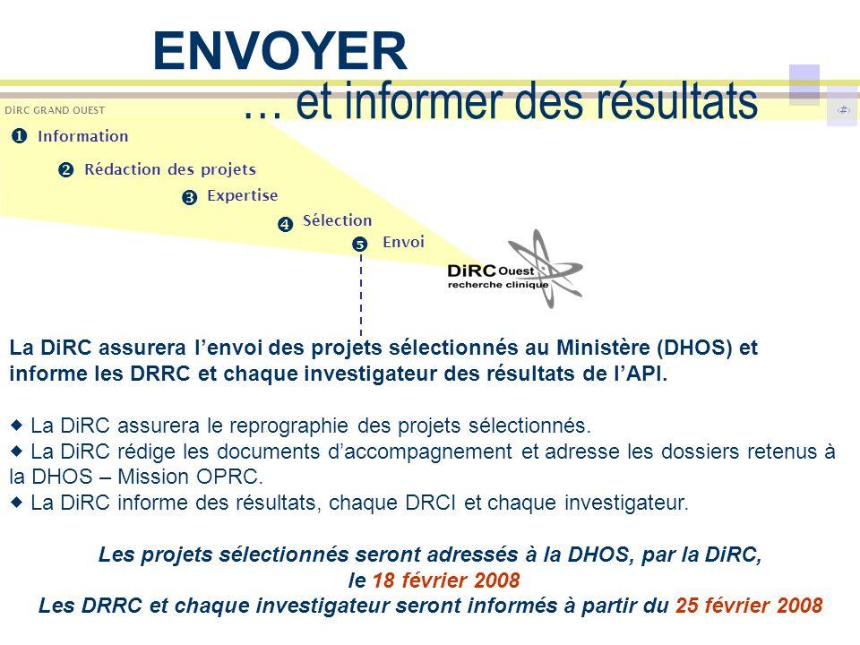 11 DiRC GRAND OUEST … et informer des résultats La DiRC assurera lenvoi des projets sélectionnés au Ministère (DHOS) et informe les DRRC et chaque investigateur des résultats de lAPI.