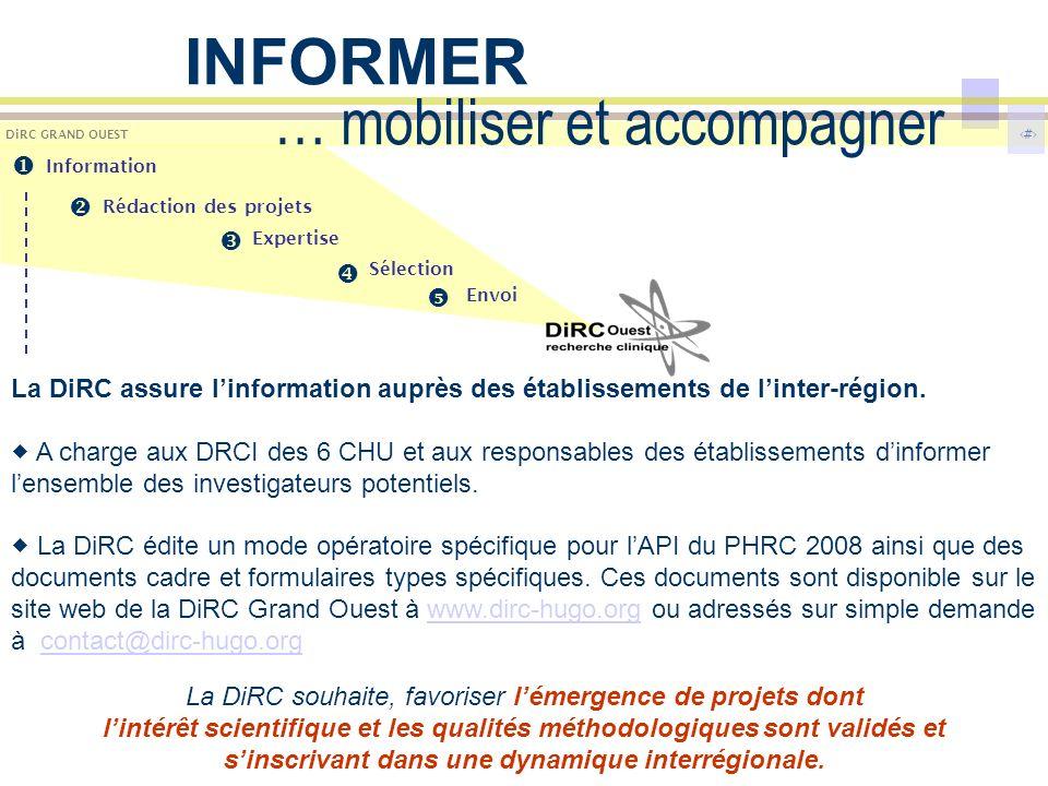 4 DiRC GRAND OUEST … mobiliser et accompagner La DiRC assure linformation auprès des établissements de linter-région. A charge aux DRCI des 6 CHU et a