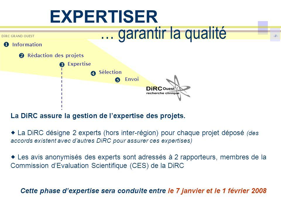 8 DiRC GRAND OUEST … garantir la qualité La DiRC assure la gestion de lexpertise des projets. La DiRC désigne 2 experts (hors inter-région) pour chaqu