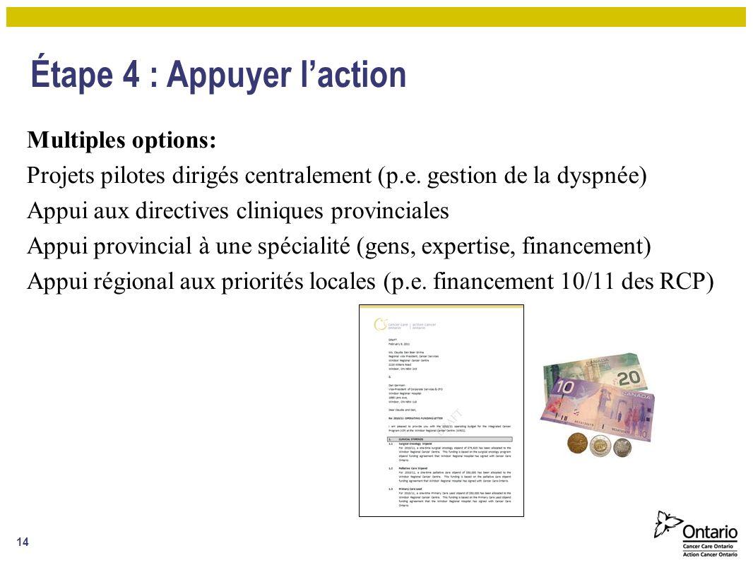 Étape 4 : Appuyer laction Multiples options: Projets pilotes dirigés centralement (p.e.