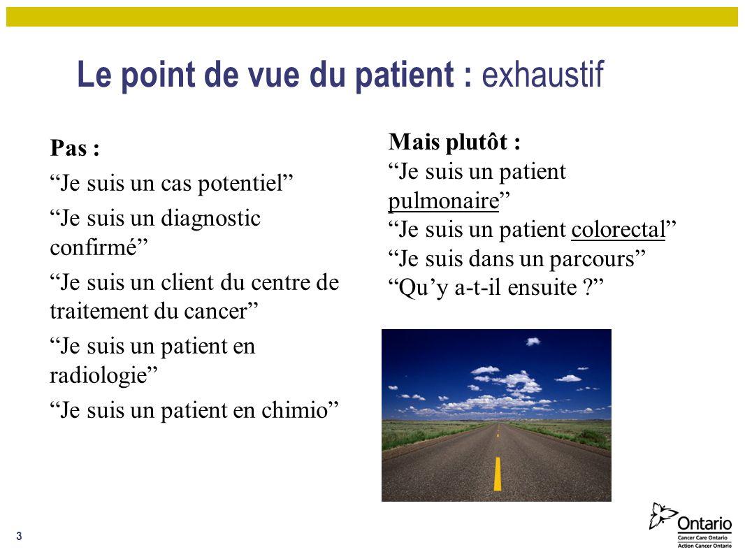 Le point de vue du patient : exhaustif Pas : Je suis un cas potentiel Je suis un diagnostic confirmé Je suis un client du centre de traitement du cancer Je suis un patient en radiologie Je suis un patient en chimio 3 Mais plutôt : Je suis un patient pulmonaire Je suis un patient colorectal Je suis dans un parcours Quy a-t-il ensuite ?