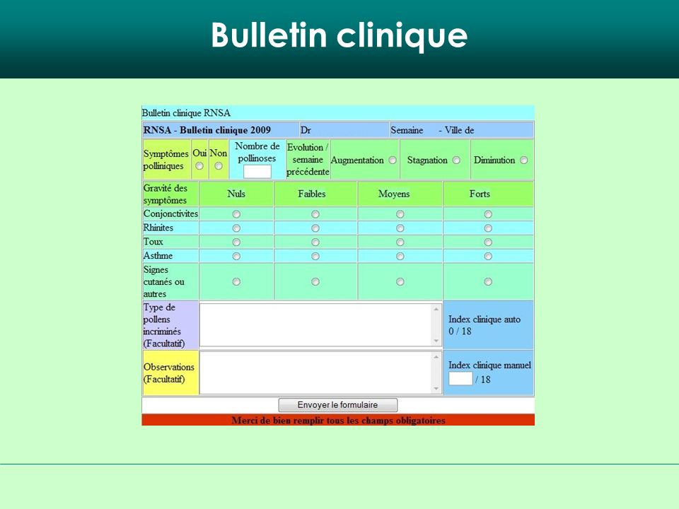 Bulletin clinique